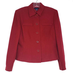 Ann Taylor Wine Red Waffle Knit Red Button Blazer